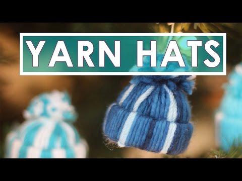 Yarn Hat Holiday Ornaments | No Knitting DIY Craft