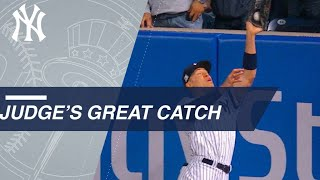 Extended Cut Of Judge's Catch Crashing Into The Wall