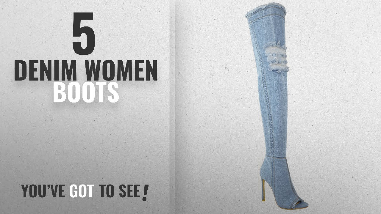 31b3a15a3fa Top 5 Denim Women Boots  2018   Fashion Thirsty Womens Over The Knee Boots Thigh  High Heels