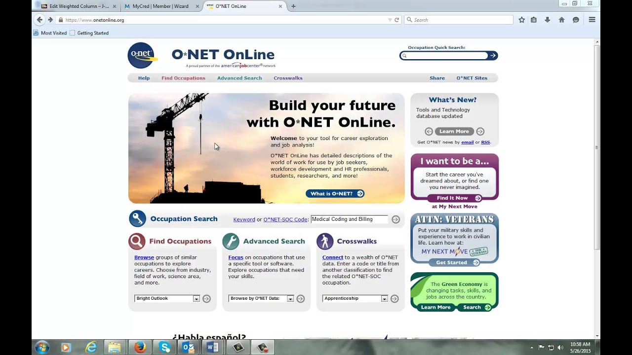 Onet Online Resume Builder ONet web site for resume building