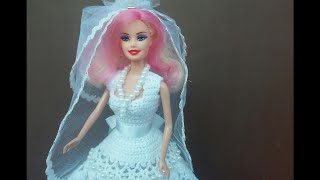 Свадебное платье для куклы.  Wedding Dress.