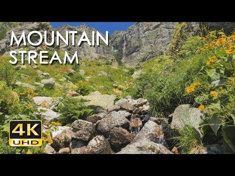 4K Mountain Stream - Relaxing Water Sounds - No Birds - Ultra HD Nature Video - Sleep/ Study/ Yoga
