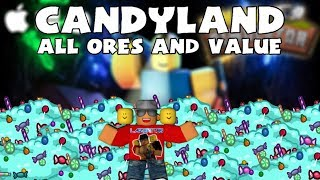 [Roblox] Mining Simulator: Candy Land (ALL ORES + VALUE)