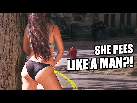 Hot Girl PEES Like A Man