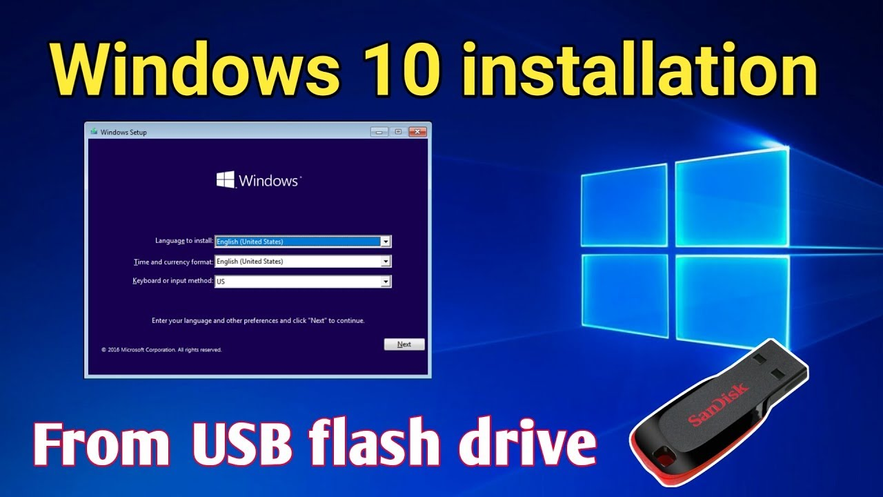 format usb drive for windows 10 install