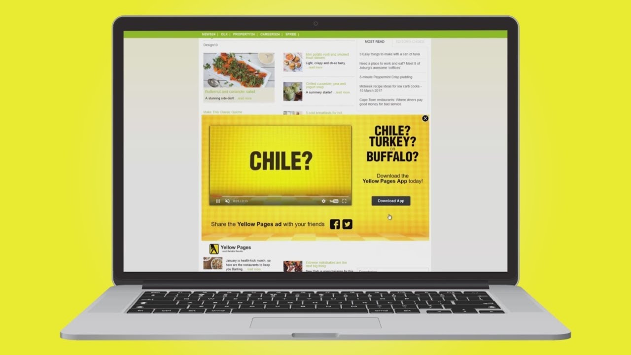 Yellow Pages Half Page Expander with Video Ad