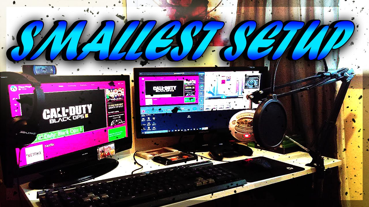Worlds smallest gaming setup small setup room tour for Small room 7 1 setup