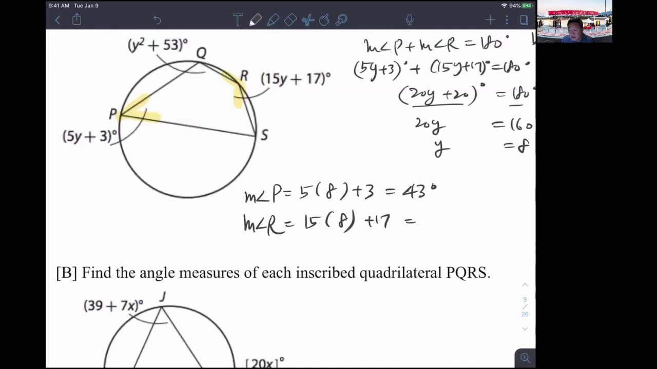 Geometry Lesson 15.2 Angles in Inscribed Quadrilaterals ...