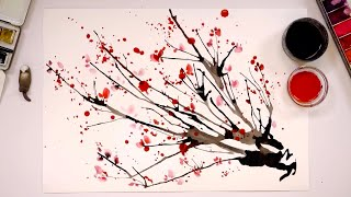 Special straw painting technique / How to paint a cherry blossom tree easy