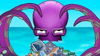- Осьминог ГЛАЗАСТИК чистит океан от мусора Мультик ИГРА Tasty Blue Forever
