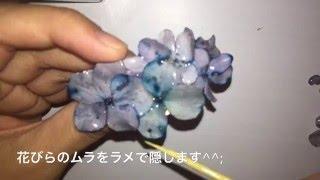【UVレジン】紫陽花のヘアゴムを作るよ resin