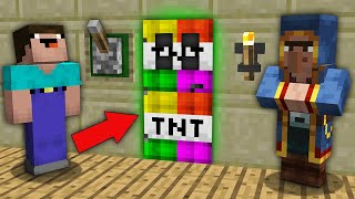 Minecraft NOOB vs PRO : WHY VILLAGER HIDE THIS TNT DOOR FROM NOOB? Challenge 100% trolling