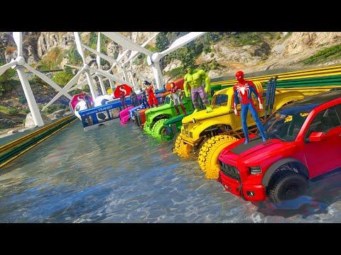 hombre araña en carro superheros offroad truck bus vs wind fan impossible GTA 5 challenge in water  