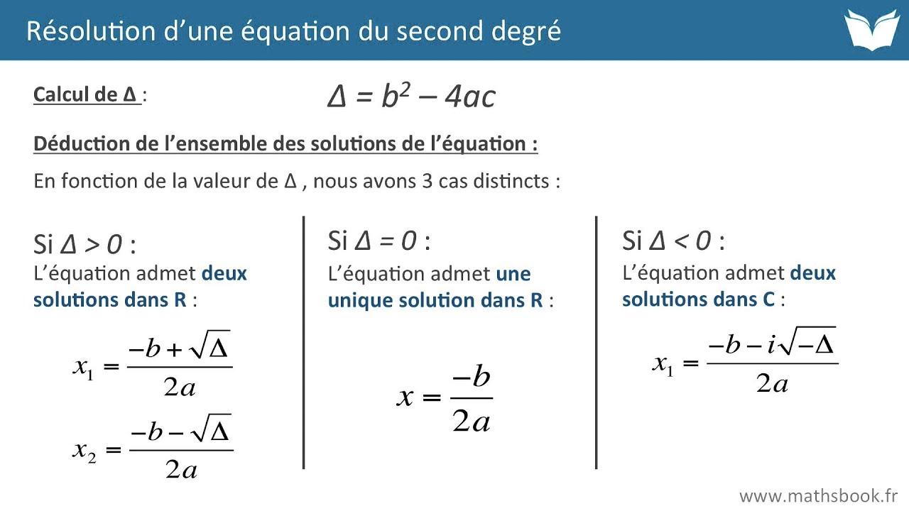 Résolution équation du second degré - Cours de maths - YouTube
