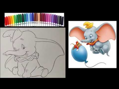Dumbo Coloring Page - Disney Coloring Book - Coloring with Markers- Speed Art