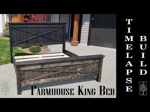 Farmhouse king bed with X accents Build Time Lapse - The Twisted Pine Woodworking Co.