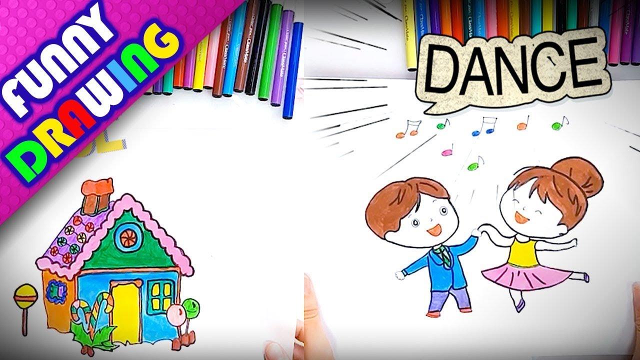 DIY - How to draw a candy house and baby dancing easy - Dạy bé vẽ và tô màu