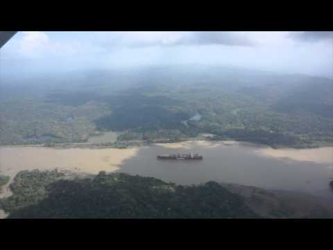 Flying over Panama Canal, Flying from Pasific to Atlantic