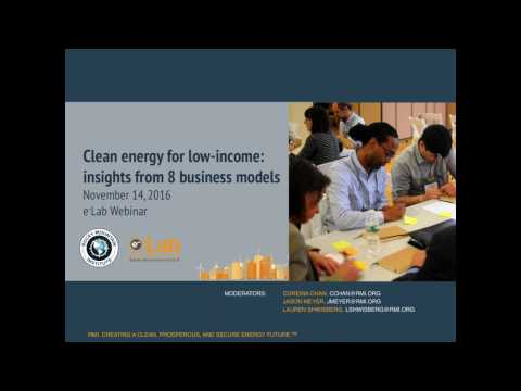 eLab Webinar: Clean energy for low-income — insights from 8 business models