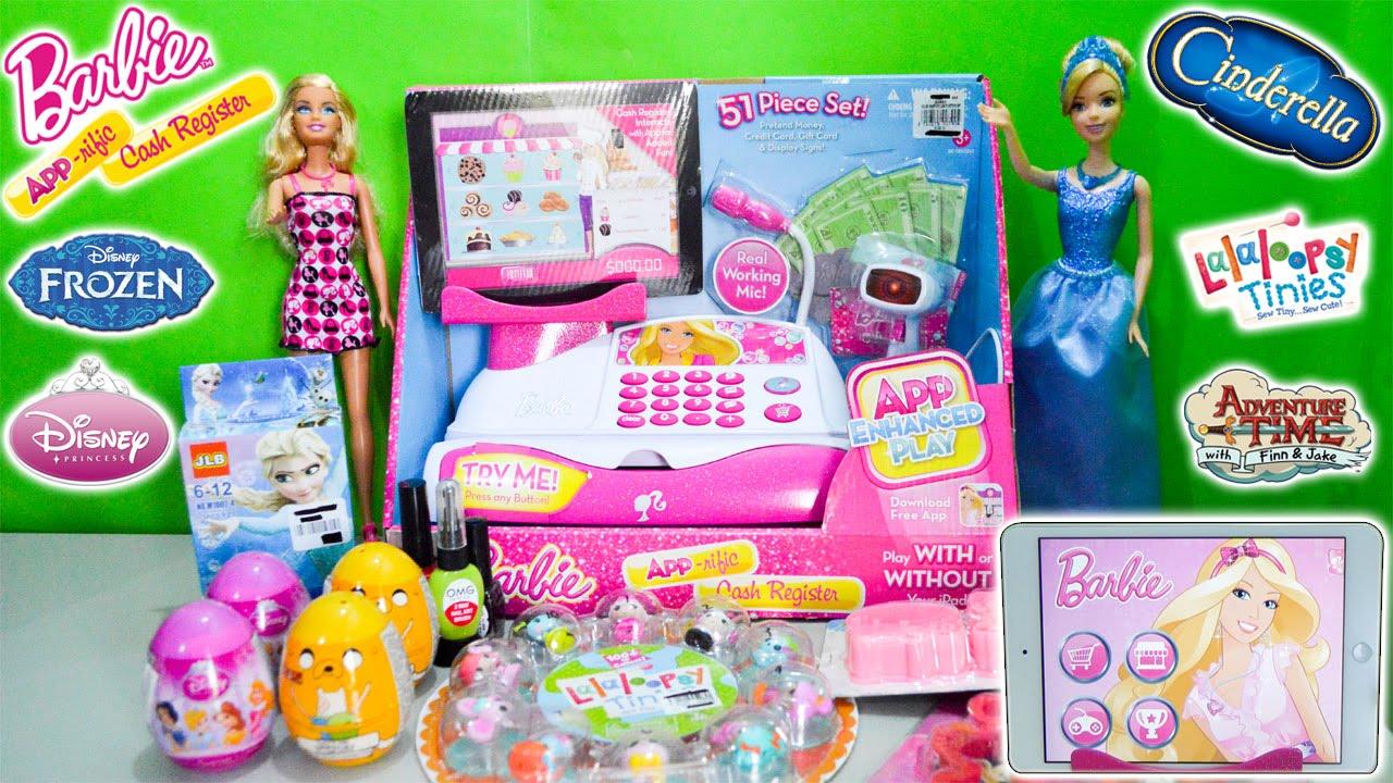 2ec740bb3646 Barbie Cash Register App Toy Disney Princess Cinderella Shopping Frozen  Adventure Time Surprise Egg