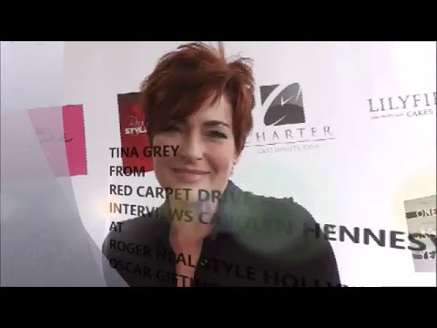 TINA FROM RED CARPET DRIVE INTERVIEWS CAROLYN HENNESY AT ROGER NEAL OSCAR GIFTING SUITE