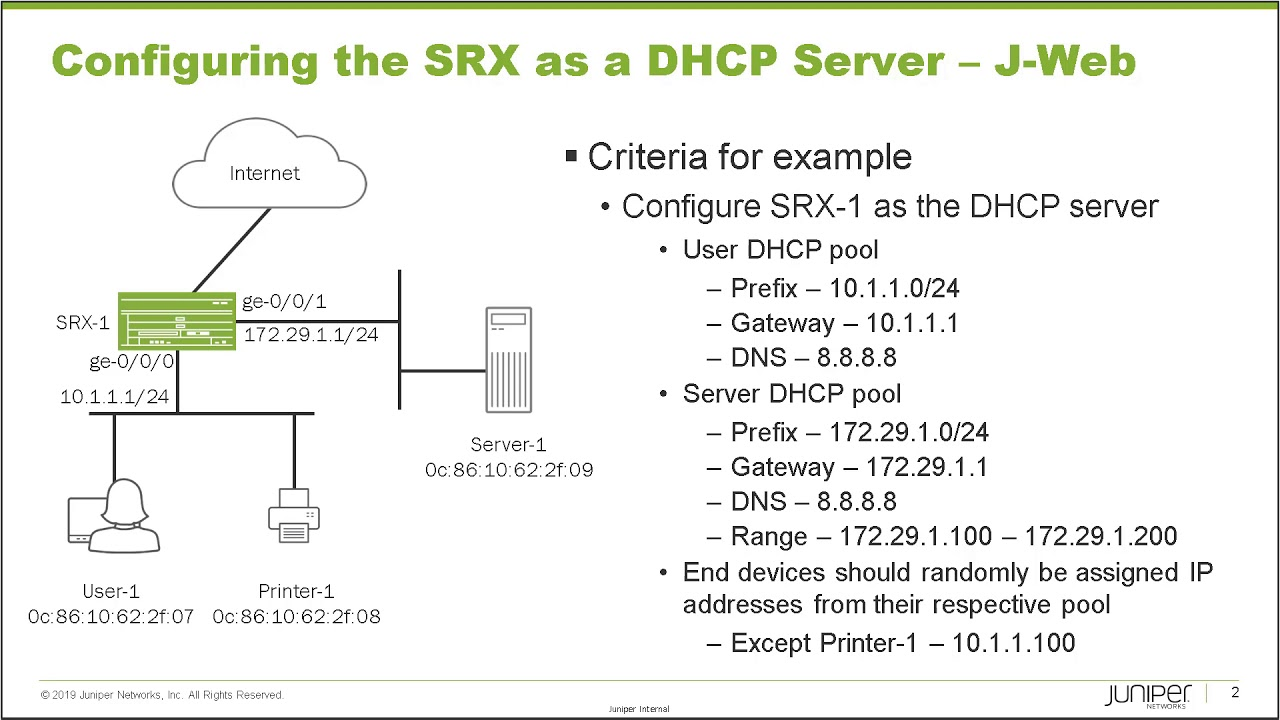Configuring the SRX Series as a DHCP Server -- J-Web