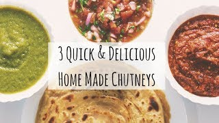3 Quick & Easy Home-Made Chutney Recipes | 3 Varieties of Chutney Recipe |Chutney for Dosa & Paratha