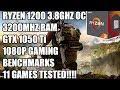 Ryzen 1200 + GTX 1050 Ti - 1080p Gaming Benchmarks  - 11 Games Tested