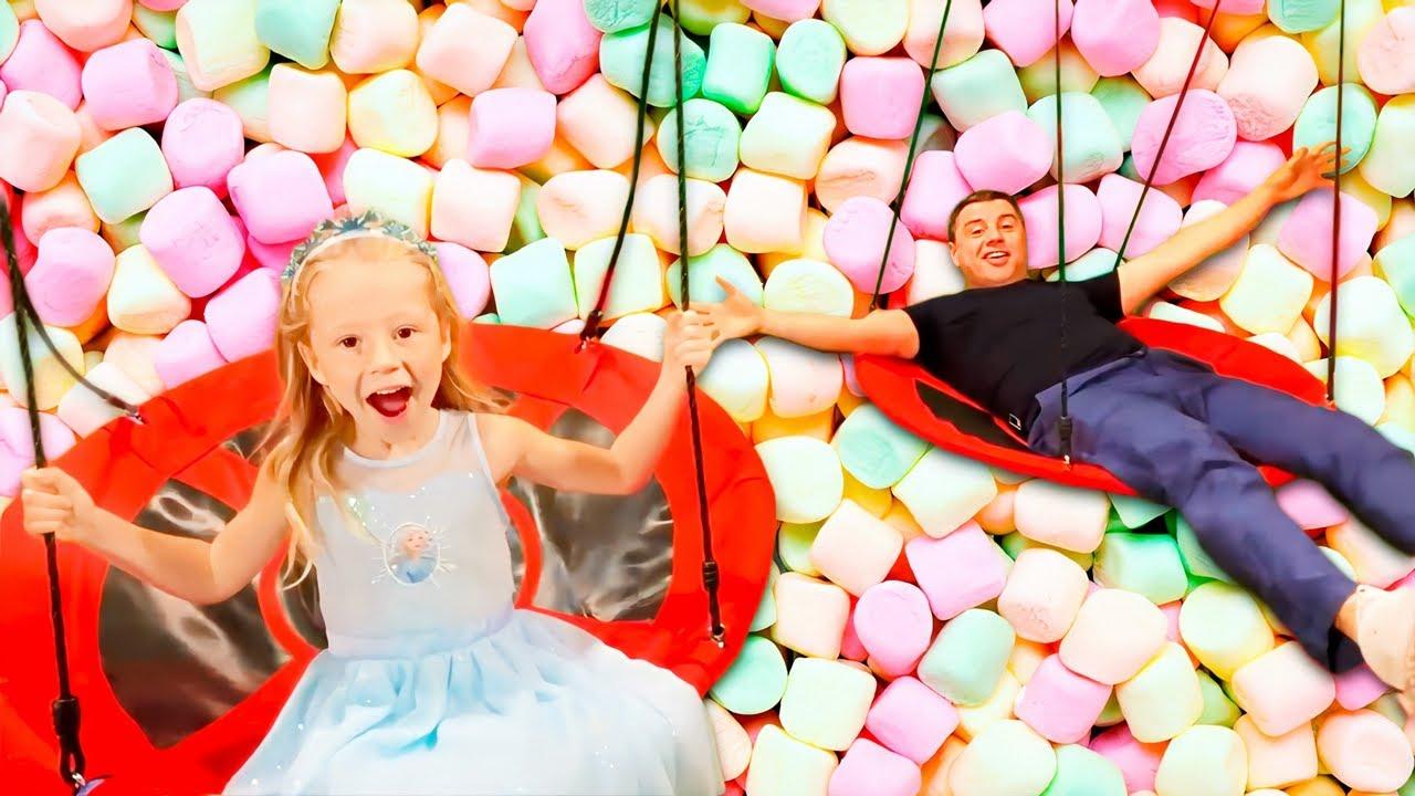 Download Nastya dan ayah bersenang-senang di taman, seri Fun kids