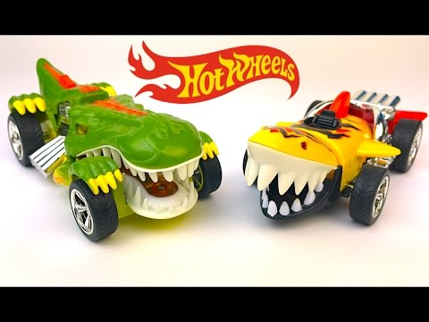 HOT WHEELS EDGE GLOW FIGHTERS SHARKRUISER & T-REXSTROYER MIGHTY MACHINES DINOSAUR T- REX SHARK