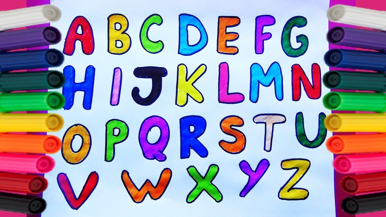 Como Dibujar Y Colorear El Abecedario O Alfabeto Dibujos Para Niños
