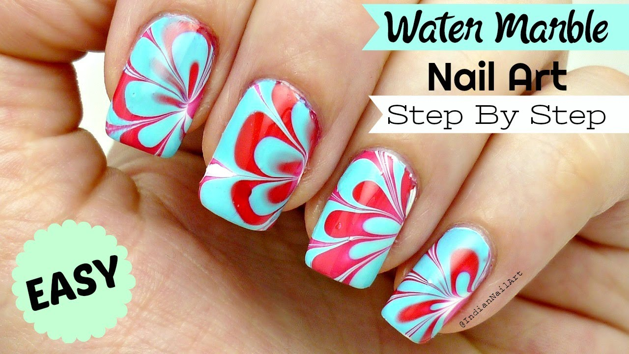 How To Do Easy Water Marble Nail Art Step By Step Tutorial In Hindi
