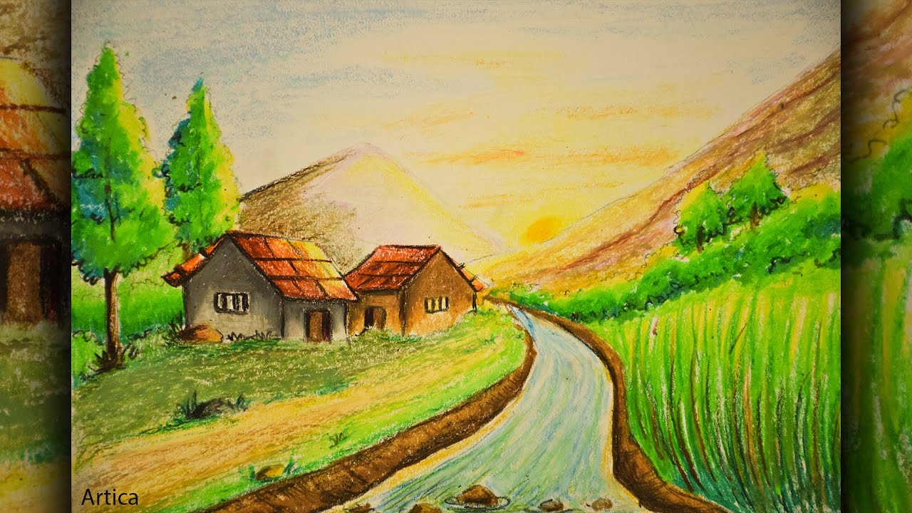 pastel color painting of a landscape scenery for beginner tutorial pastel color drawing tutorial
