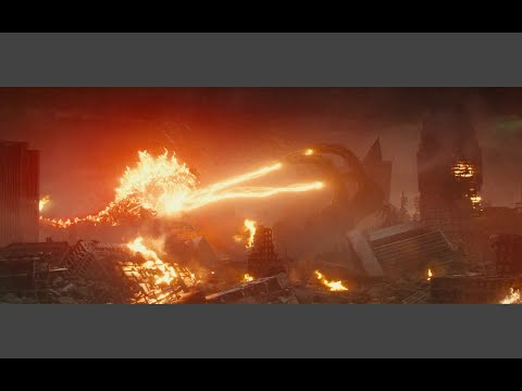 Burning Godzilla Fights Ghidorah