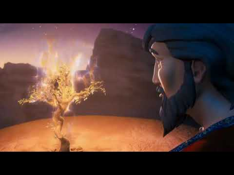 animated god speaking to moses from the burning bush