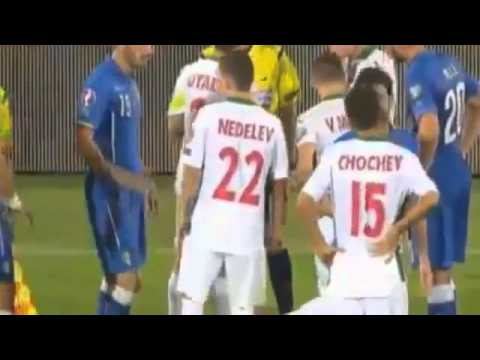 Daniele De Rossi and Micanski Red Card   Italy vs Bulgaria Qualification EURO 2016