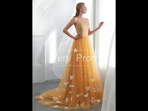Strapless Burnt Orange Tulle Appliqued Long Prom Dresses,Cheap Prom Dresses,Prom Dresses Online
