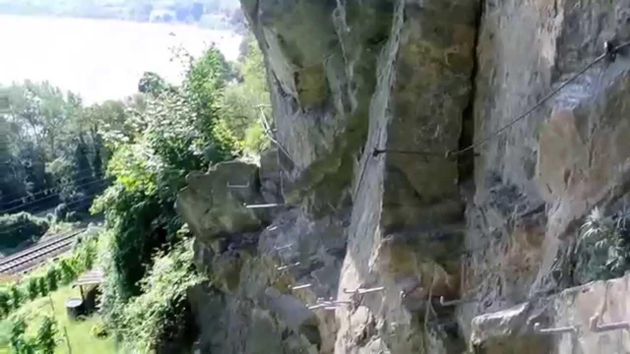 Klettersteig Nochern : Fels stahl der klettersteig mittelrhein youtube
