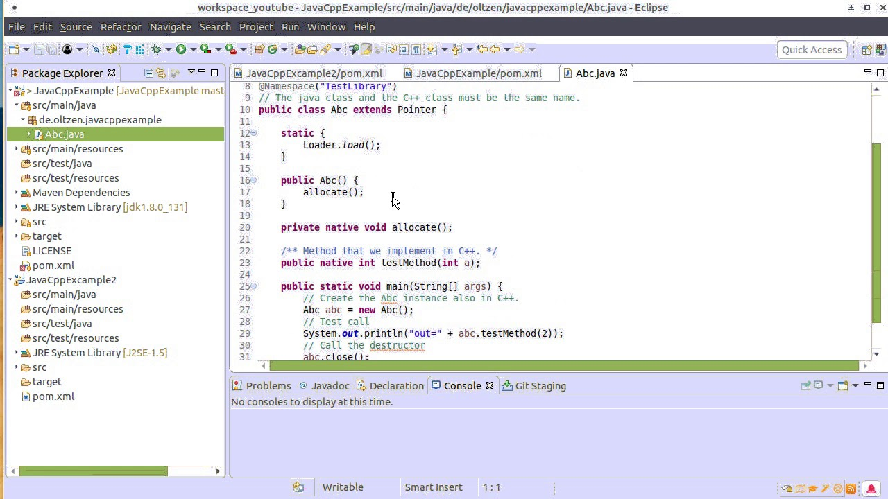 JavaCpp with Maven and Eclipse #001