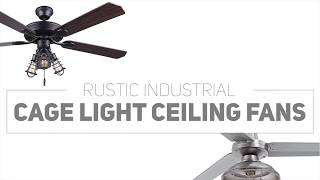 7 Rustic Industrial Ceiling Fans With Cage Lights You'll Love