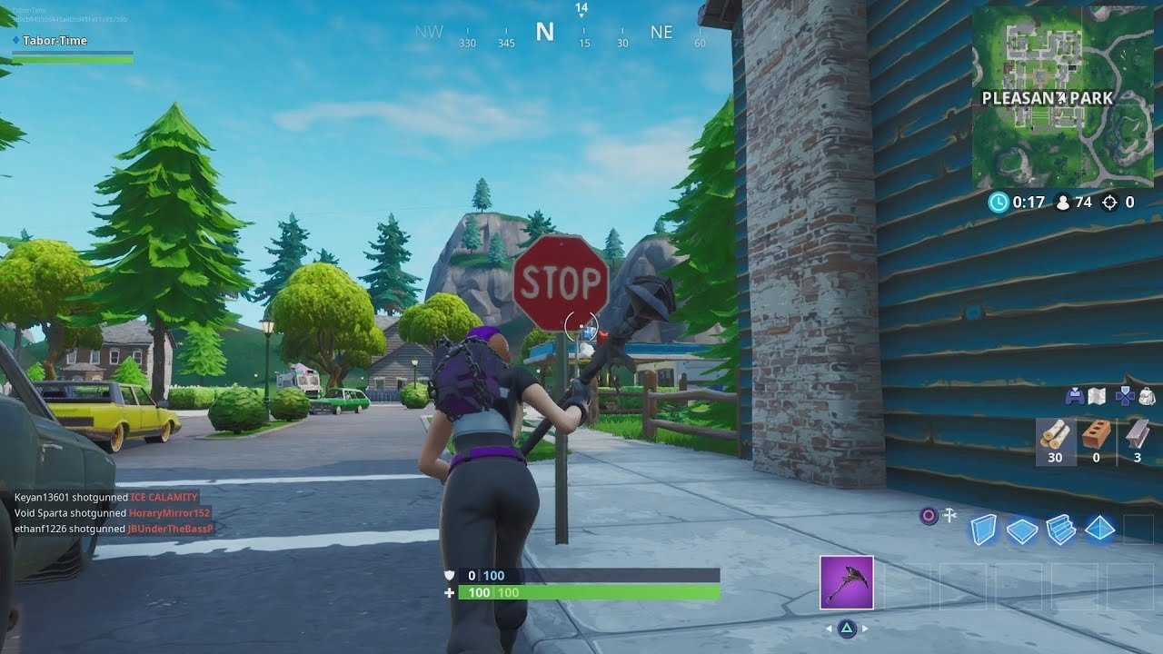 Destroy Stop Signs With The Catalyst Outfit IN A SINGLE MATCH - 10 Stop Sign Locations In Fortnite! #1