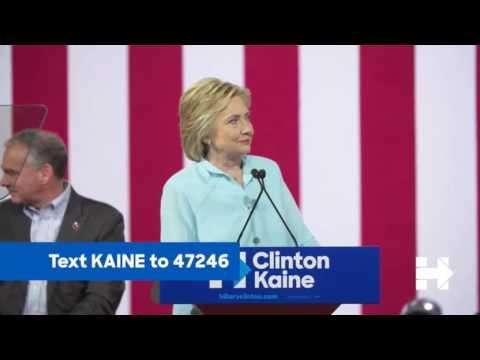 Hillary Clinton full speech with vp pick Tim Kaine In Miami Fl 7/23/16