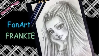 Drawing, Shading  with Pencil : Frankie Monster high (fan art)