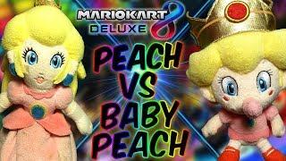 ABM: Peach Vs Baby Peach !! Mario Kart 8 Deluxe !! Race & Battle Gameplay !! HD