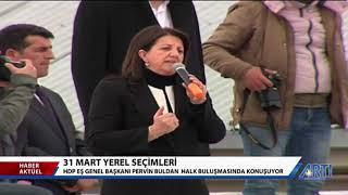 HDP Eş genel başkanı Pervin Buldan Erzurum'un Karayazı ilçesinde konuştu-13 Mart 2019