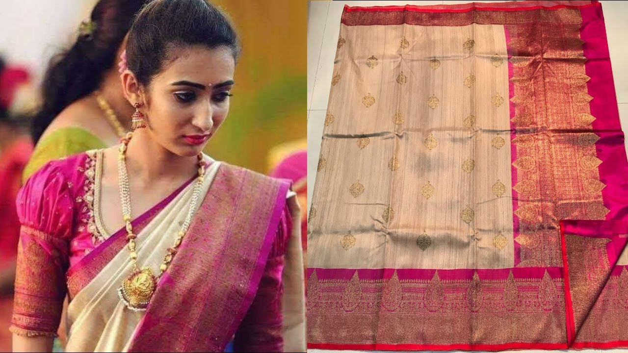 45238a9672 Pure Handloom Banarasi Kadiyal Tussar Silk Saree with Price | Million  Designs | TM