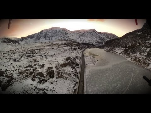UAV Drone, DJI 450 Flight in North Wales Mountains to the Sea