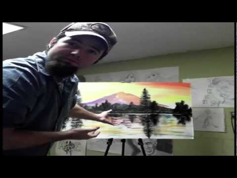 acrylic landscape painting purple mountain rehab