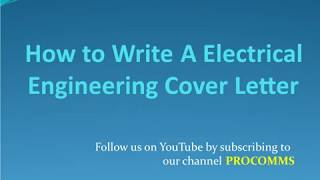How To Write A Electrical Engineering Cover Letter | Electrical Engineering Cover Letter