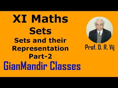 XI Mathematics - Sets - Sets and their Representation Part-2 by Divya Mam